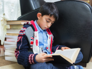 young student boy studying on books
