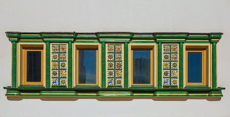 windows with tiles in style of ancient Russian architecture