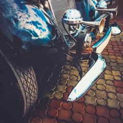 Old retro or vintage car front side. Vintage effect processing