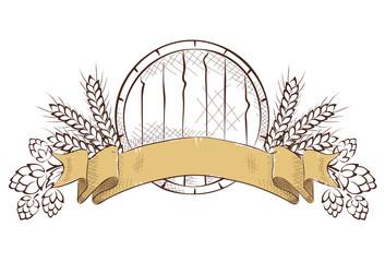 Design elements -- composition with beer keg, hop and barley