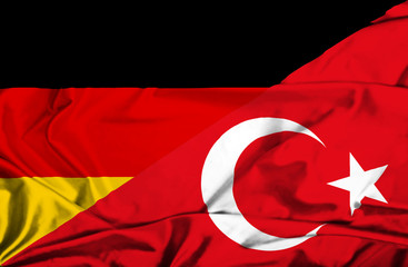 Waving flag of Turkey and Germany