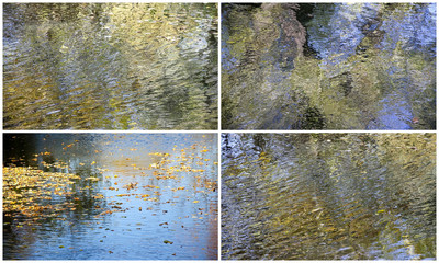 Collage of autumn leaves backgrounds with reflection in water
