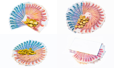 Collage - banknotes and coins