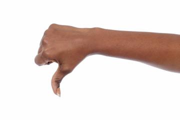 main femme noire pouce baissé