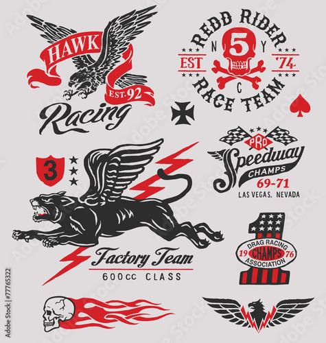 Fotobehang Sportwinkel Vintage motor racing graphics