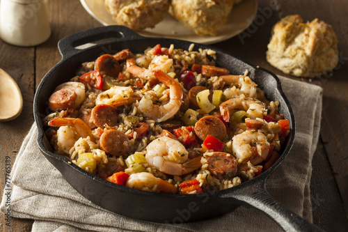 Deurstickers Schaaldieren Spicy Homemade Cajun Jambalaya