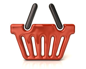 Orange shopping basket icon