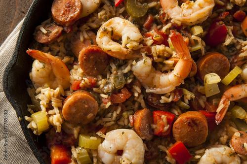 Keuken foto achterwand Schaaldieren Spicy Homemade Cajun Jambalaya