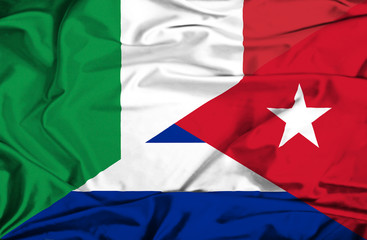 Waving flag of Cuba and Italy