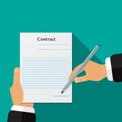 Signing of the contract vector illustration