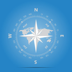 Compass, land on a blue background in marine style vector