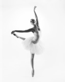 Black and white image of a young beautiful ballet dancer