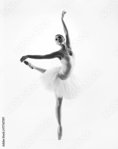 Black and white image of a young beautiful ballet dancer Plakát