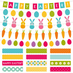 Easter design elements set - decoration and washi tapes