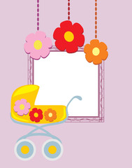 Decorative frame with stylized pram and flowers. Postcard