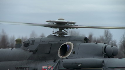 Close-up on rotating screw of helicopter