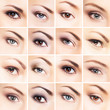 Collection of many female eyes with different makeup