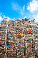 Plastic waste with sky