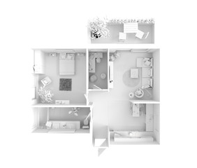 House plan top view - interior design