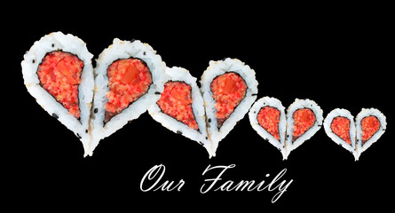 Family of four concept with hearts forming from pieces of sushi