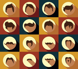 Collection of hipster retro hair styles and mustaches, vector il