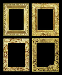 Set 4 antique golden frame isolated on black background, clippin