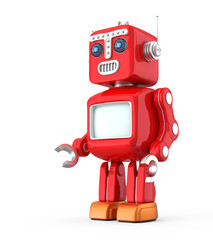 Red vintage robot  looking foward on white background
