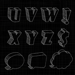 3D hand drawn uppercase alphabets in black background.