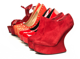 Various High Heels shoes in red