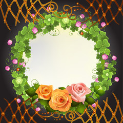 Abstract background with clover and roses