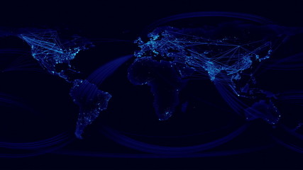 Network Lines Lighting Up World Map. Blue Version.