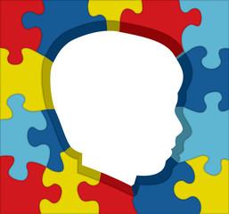 Autism Awareness Puzzle Silhouette Illustration