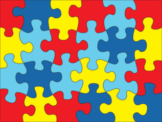Puzzle Pieces in Autism Awareness Colors Background Illustration