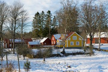 A swedish village in winter