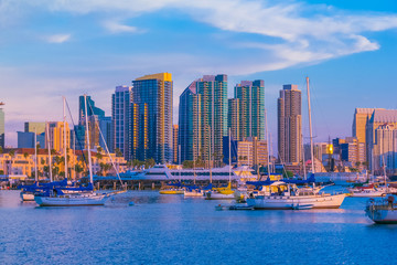 Skyscrapers of San Diego Skyline ,waterfront and harbor at dusk,