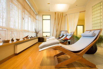 Sunbeds in relax room