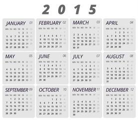2015 Gray Stylish Calendar With Symbols