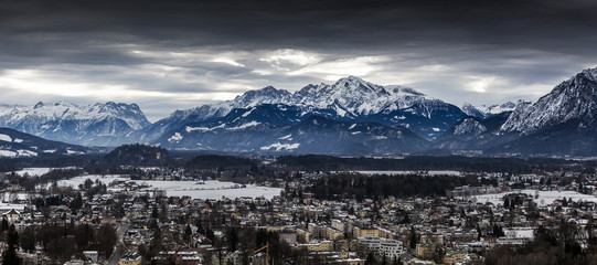 panorama of Alps covered in snow at Salzburg