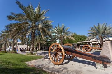 Historic cannon at the msuem of Ajman, United Arab Emirates