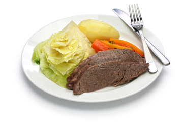 corned beef and cabbage isolated on white background