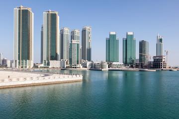 Skyline of Al Maryah Island in Abu Dhabi, United Arab Emirates