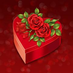 сердечный подарок с розами