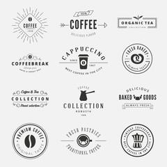 Coffee Retro Vintage Labels Logo design vector typography