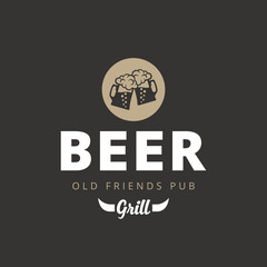 Beer Pub Vintage retro Logo design. Two Mugs with foam