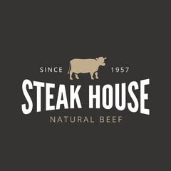 Beef Steak Logo Vintage Retro Label design BBQ Grill