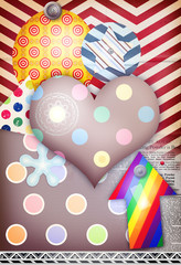 Colorful patchwork and collage with heart