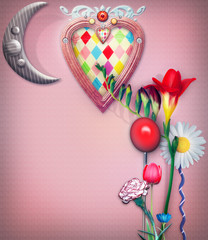 Enchanted background with flowers,heart and moon