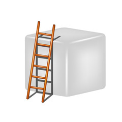 Grey cube and wooden ladder