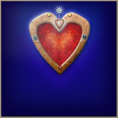 Heart in blue velvet background