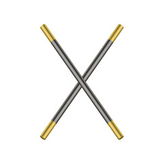 Two crossed magic wands in black and golden design